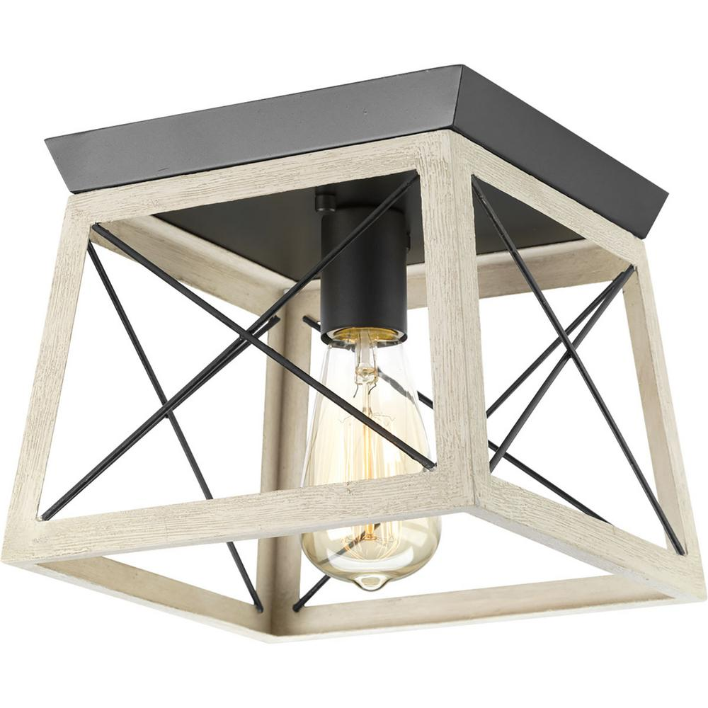 Progress Lighting Briarwood 9 5 In 1 Light Graphite Flush Mount With Faux Painted Wood Accents