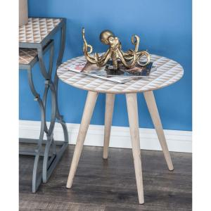 19 inch x 19 inch Chinese Fir Wood Brown Accent Table with Triangular Patterns by