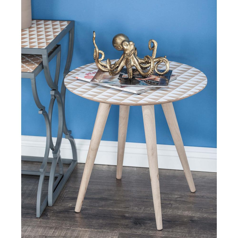 Litton Lane 19 in. x 19 in. Chinese Fir Wood Brown Accent Table with