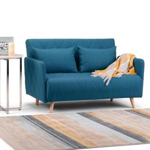 Incredible Simpli Home Piper Contemporary 52 In Blue Velvet Wide Sofa Andrewgaddart Wooden Chair Designs For Living Room Andrewgaddartcom