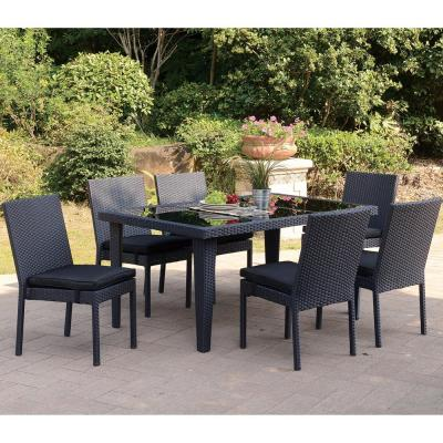 Narbolla 7-Piece Wicker Outdoor Patio Dining Set with Dark Brown Seat Cushions