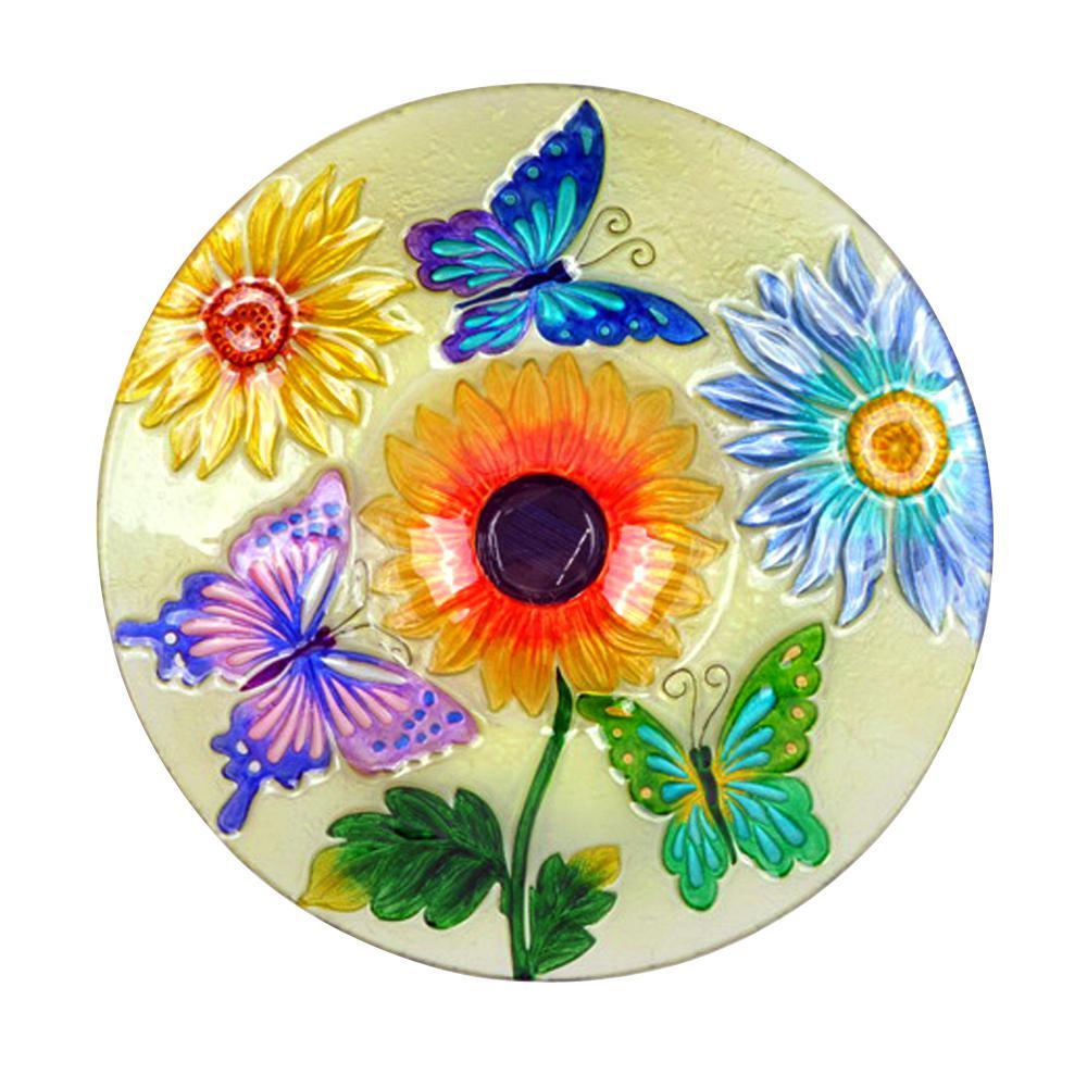 Hi Line Gift Solar Gl Fl Erfly Bird Bath 78415 C The