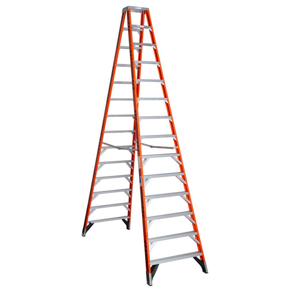 Werner 14 ft. Fiberglass Twin Step Ladder with 300 lb. Load Capacity ...