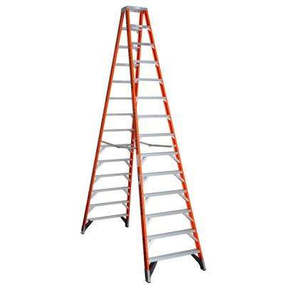 14 ft. Fiberglass Twin Step Ladder with 300 lb. Load Capacity Type IA