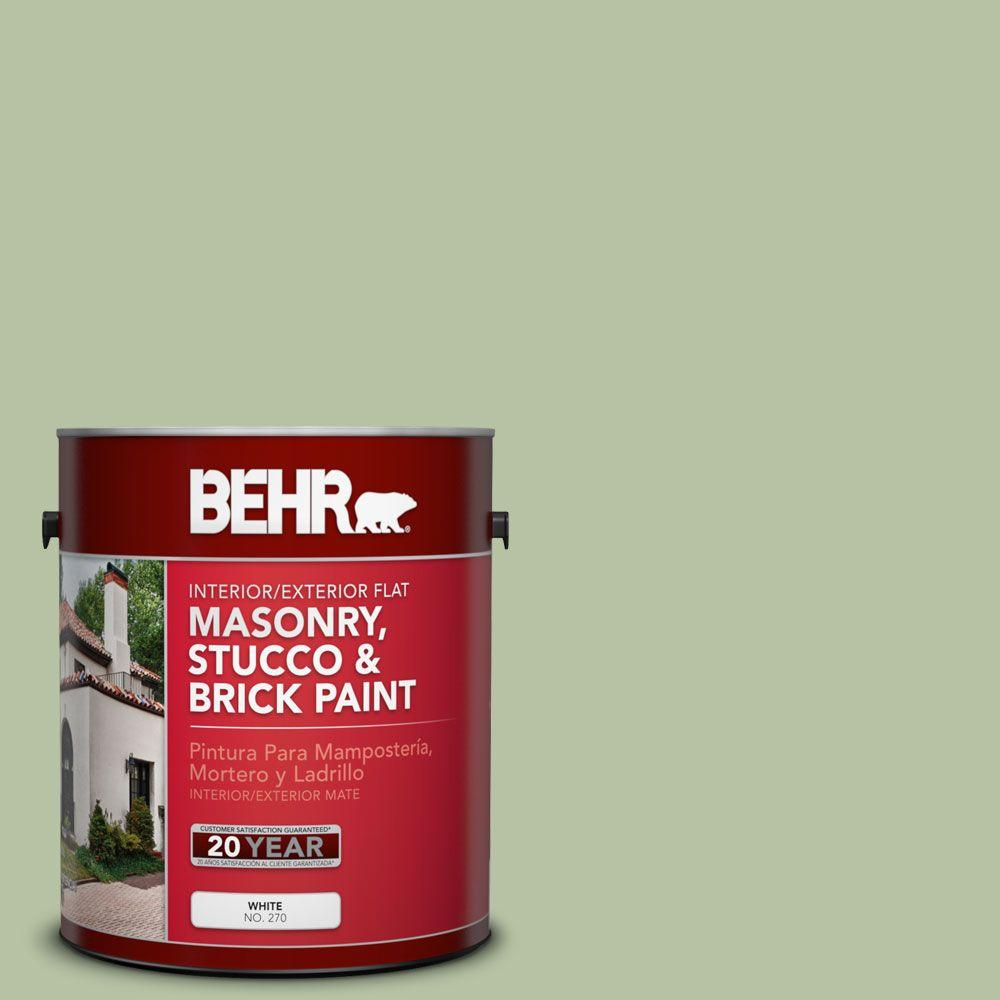 1 gal. #MS-57 Soft Green Flat Interior/Exterior Masonry, Stucco and Brick