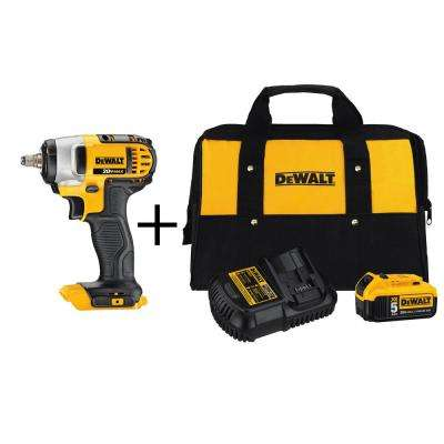20-Volt MAX Lithium-Ion Cordless 3/8 in. Impact Wrench with Hog Ring (Tool-Only) with Bonus Battery 5Ah Starter Kit
