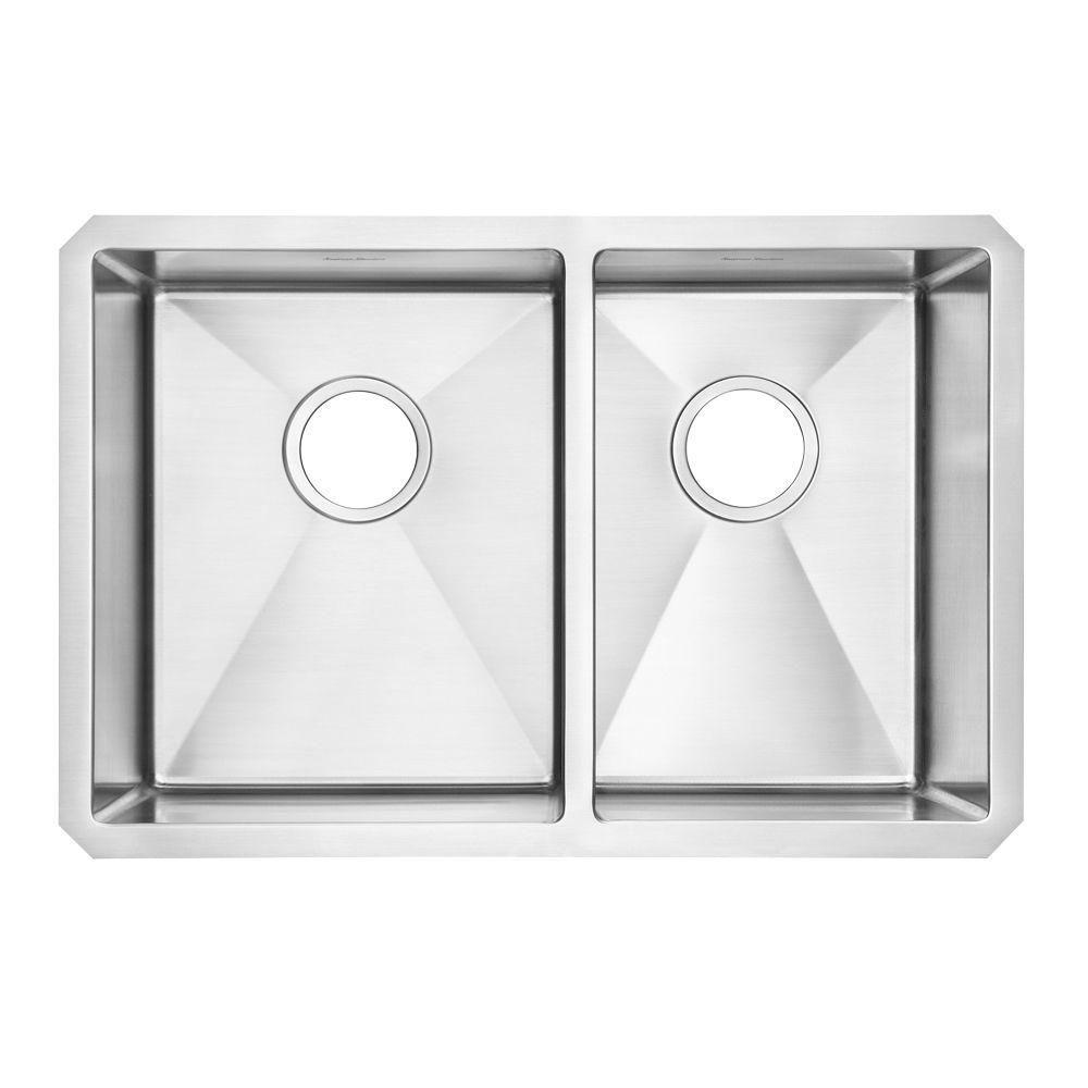 American Standard Prevoir Collection Undermount 28 in. Double Bowl Kitchen Sink Combination in Brushed Satin