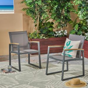 Glasgow Gray Armed Aluminum Outdoor Dining Chair (2-Pack)