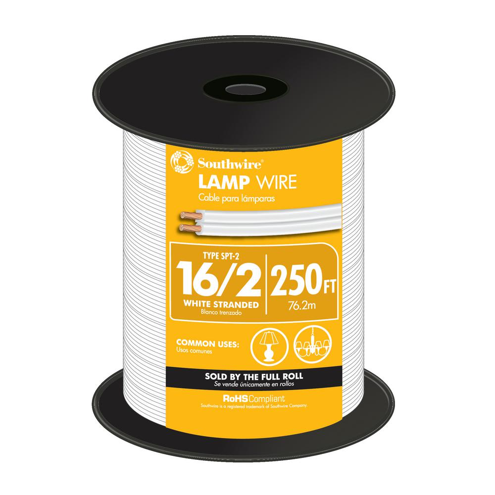 lamp wire wire the home depot16 2 white stranded cu spt 2 lamp wire