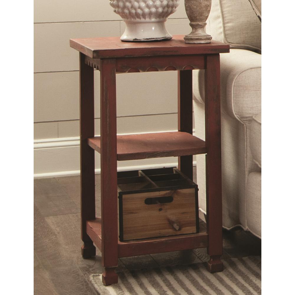 Alaterre Furniture Country Cottage Red Antique 2 Shelf End Table