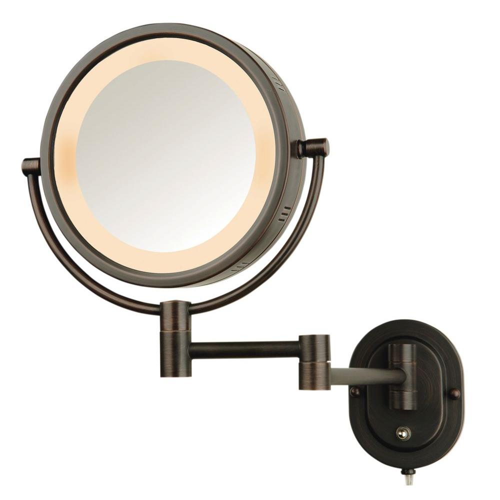 Jerdon 5x Halo Lighted 13 In L X 9 W Wall Mount Makeup