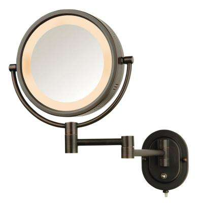 5X Halo Lighted 13 in. L x 9 in. W Wall Mount Makeup Mirror in Bronze