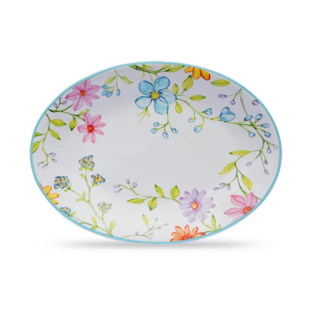 Charlotte 15 in. Multicolor Stoneware Oval Platter