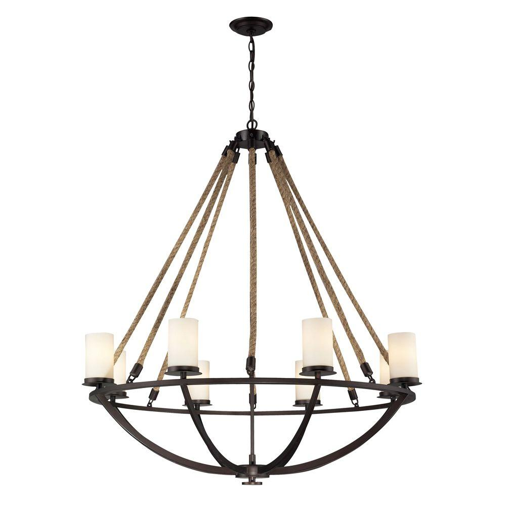 Titan Lighting Natural Rope 8-Light Aged Bronze Ceiling Mount Chandelier