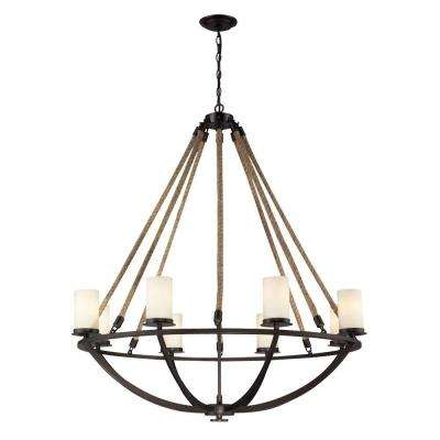 Natural Rope 8-Light Aged Bronze Ceiling Mount Chandelier
