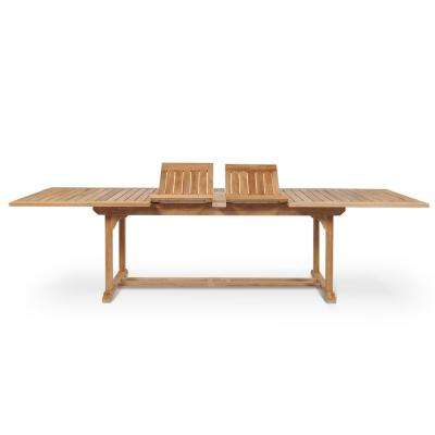 Ihland Rectangular Teak Outdoor Dining Table with Double Extensions