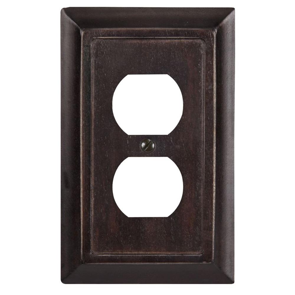 Amerelle Wood 1 Duplex Wall Plate - Dark Walnut