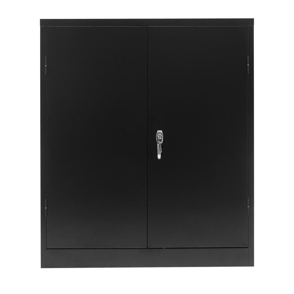 Lockable Black Metal Storage Cabinet with 2 Adjustable Shelves