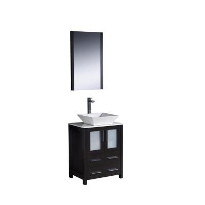 Torino 24 in. Vanity in Espresso with Glass Stone Vanity Top in White with White Basin and Mirror