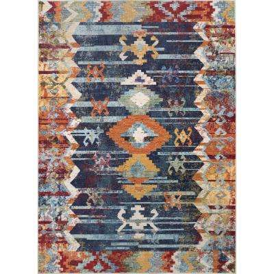 Vintage Abstract Osteen Navy 2 ft. x 8 ft. Runner