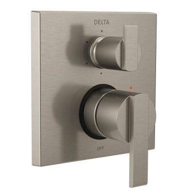 Ara Modern 2-Handle Wall-Mount Valve Trim Kit with 6-Setting Integrated Diverter in Stainless (Valve Not Included)