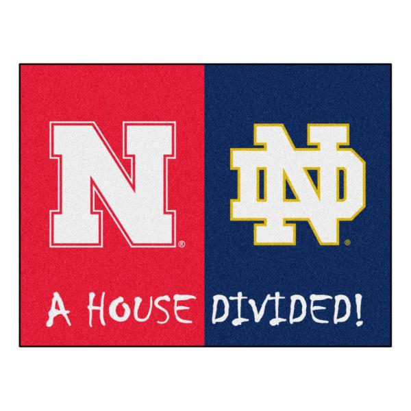 NCAA House Divided - Nebraska / Notre Dame 33.75 in. x 42.5 in. House Divided Mat Area Rug