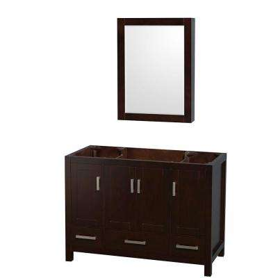 Sheffield 48 in. Vanity Cabinet with Medicine Cabinet and Mirror in Espresso