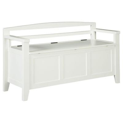 Transitional Style 46 in. W White Wooden Bench with Lift Top Seat