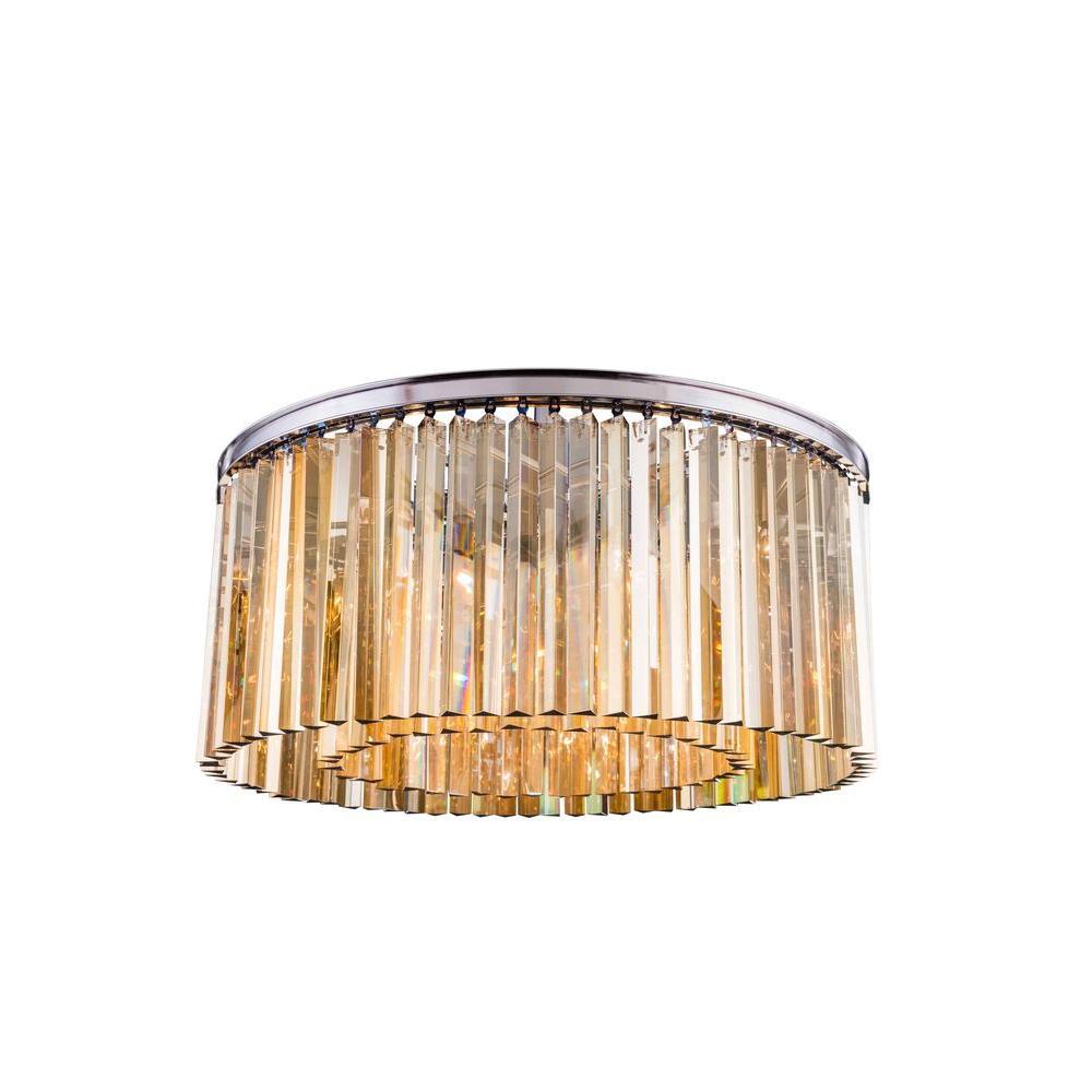 Sydney 8-Light Polished Nickel Flushmount with Golden Teak Smoky Crystal