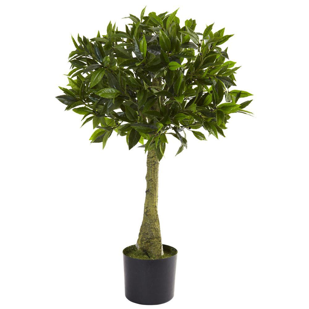 Nearly Natural 3 ft. UV Resistant Indoor/Outdoor Bay Leaf Topiary ...