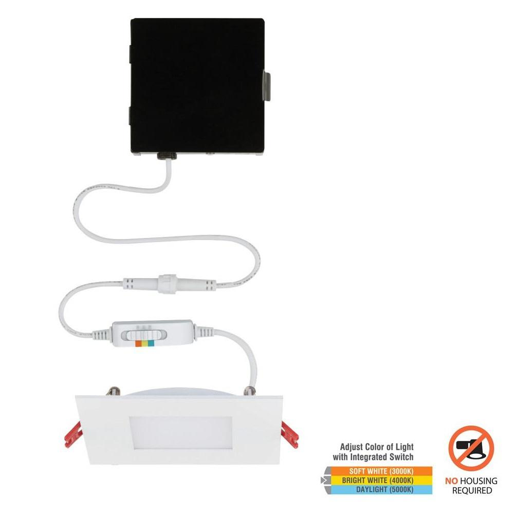 Commercial Electric Ultra Slim 4 in. Square Color Selectable Canless LED Recessed Kit