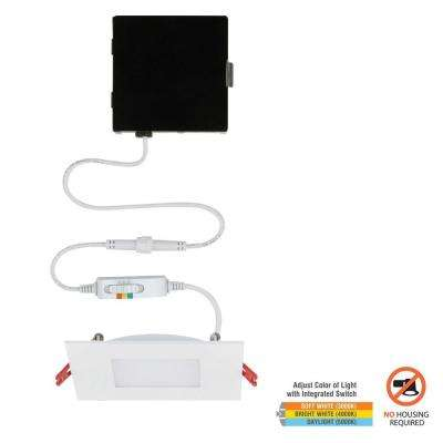 Ultra Slim 4 in. Square Color Selectable Canless LED Recessed Kit
