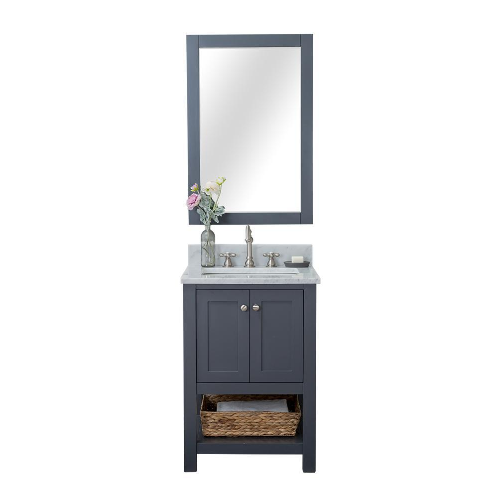 Design Element Shoreline 24 in. W x 22 in. D Bath Vanity in Gray with Marble Vanity Top in White with White Basin and Mirror