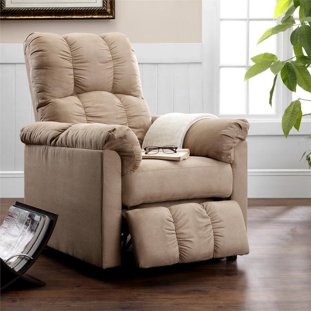 Dorel living easton beige microfiber recliner