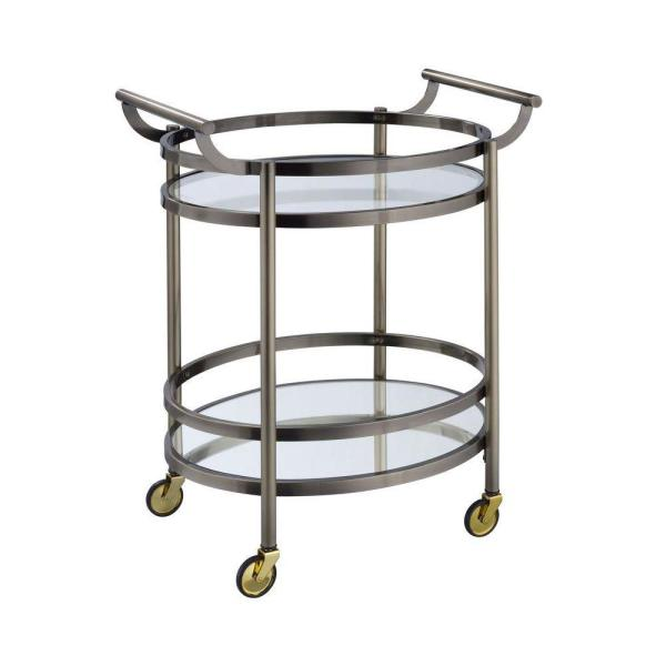 Clear Glass and Gold Oval Metal Serving Cart