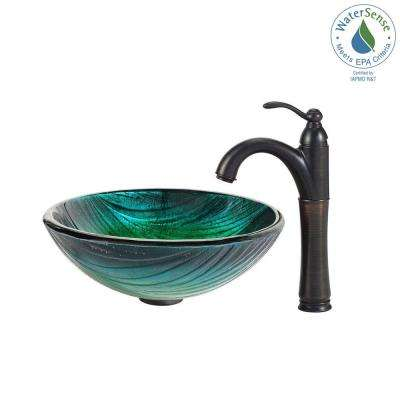 Nei Glass Vessel Sink in Green with Riviera Faucet in Oil Rubbed Bronze