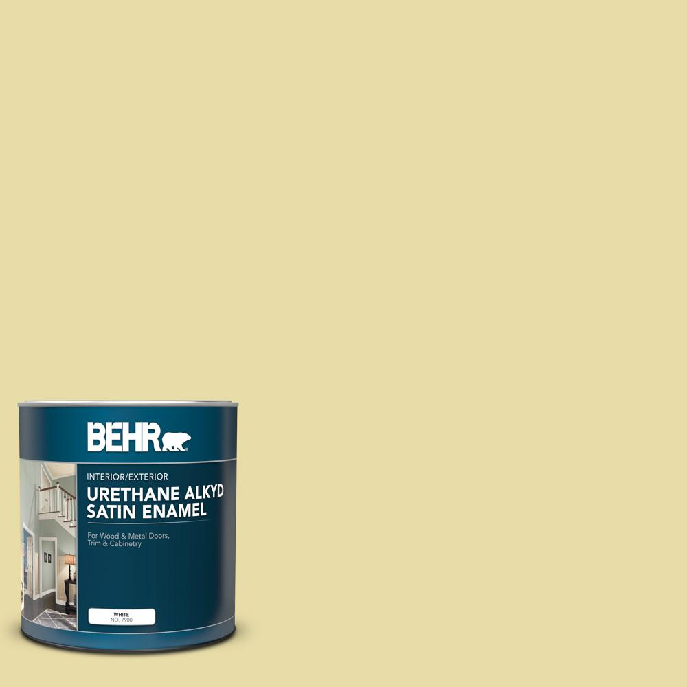 Behr 1 Qt P350 3 Green Charm Satin Enamel Urethane Alkyd Interior Exterior Paint 790004 The Home Depot