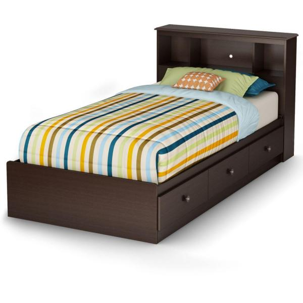 South Shore Zach Mates Bed with 3 Drawers, Chocolate