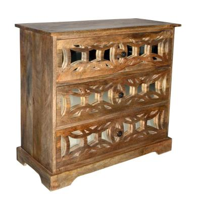 Brown 3-Drawer Mango Wood Console Storage Cabinet with Lattice Design Mirror Front
