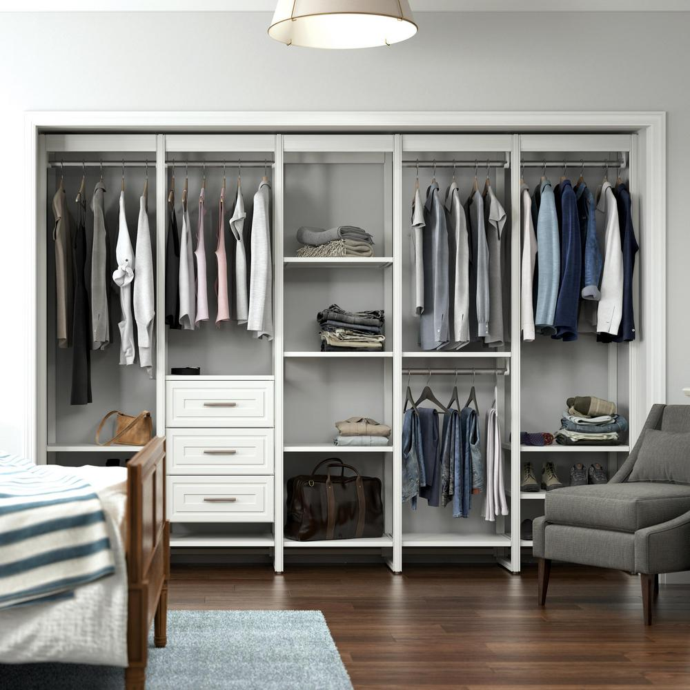 CLOSETS By LIBERTY 113 in. W White Adjustable Tower Wood Closet System with 3 Drawers and 19 Shelves