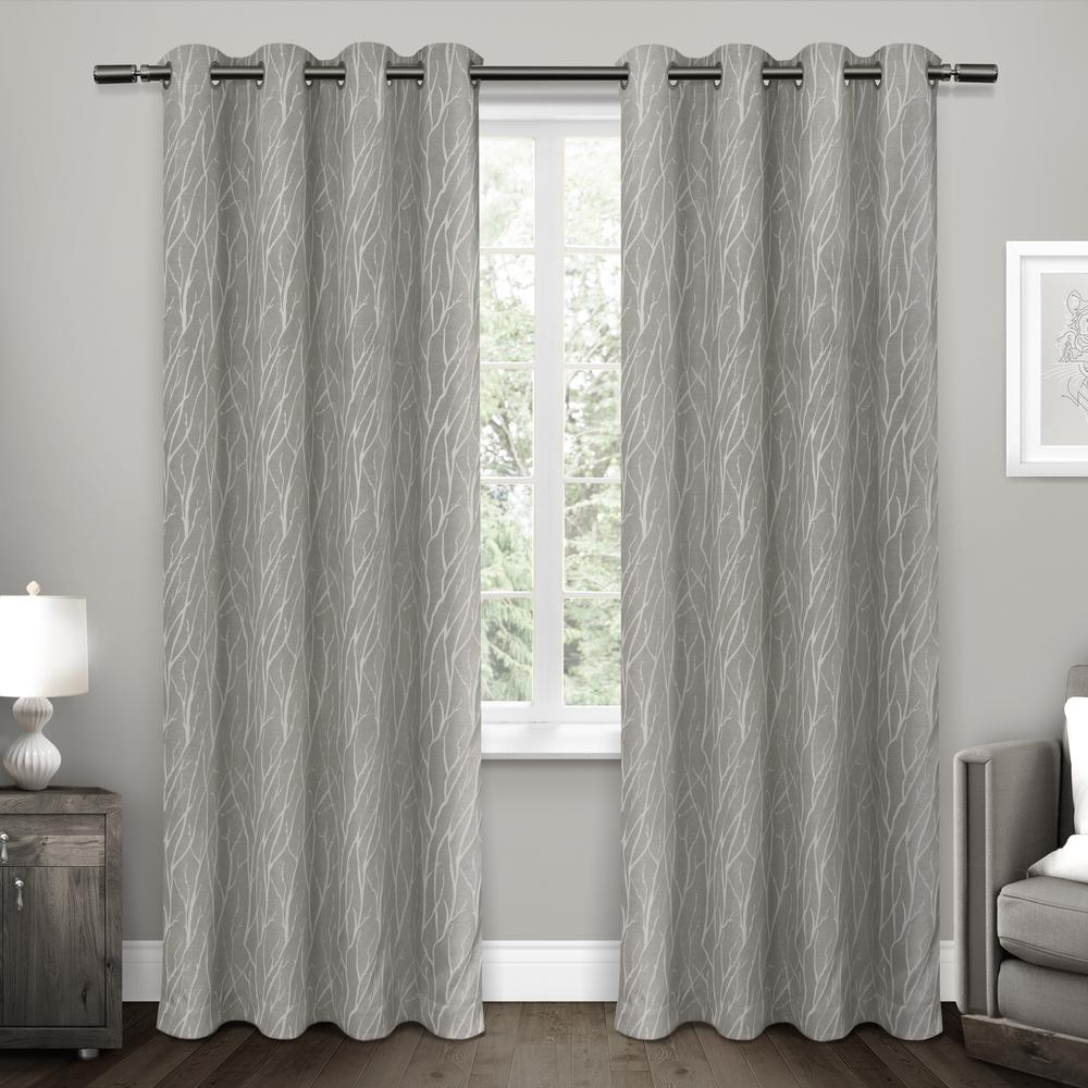 forest hill 52 in  w x 108 in  l woven blackout grommet top curtain panel in ash grey  2 panels