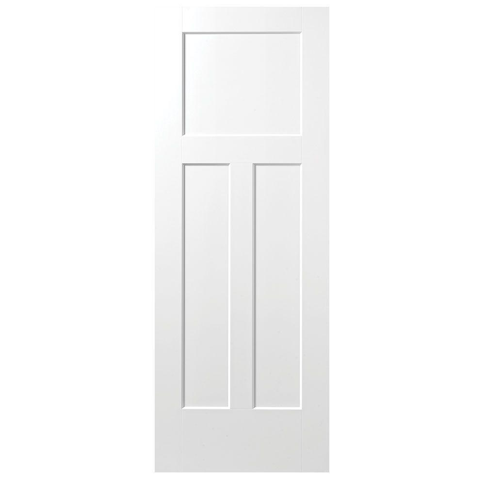 Masonite 28 in x 80 in winslow primed 3 panel solid core for Www masonite com interior doors