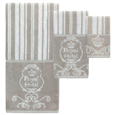 Royal Hotel 3-Piece 100% Cotton Decorative Towel Set in Taupe and White with Monogram