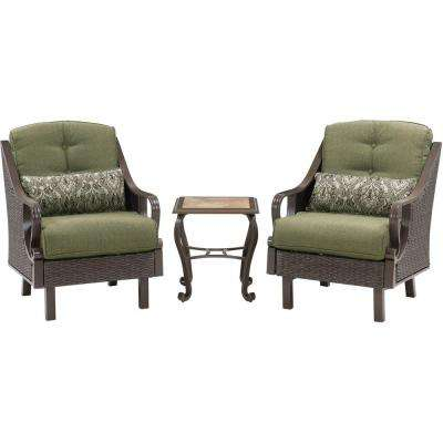 Ventura 3-Piece All-Weather Wicker Patio Chat Set with Vintage Meadow Cushions