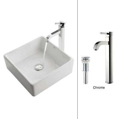 Square Ceramic Vessel Sink in White with Ramus Faucet in Chrome. KRAUS   Vessel Sinks   Bathroom Sinks   The Home Depot