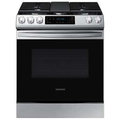 30 in. 6 cu. ft. Slide-In Gas Convection Range Oven in Fingerprint Resistant Stainless Steel
