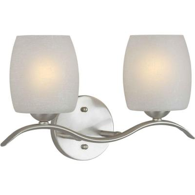 Andrea 2-Light Brushed Nickel Bath Vanity Light with White Linen Glass