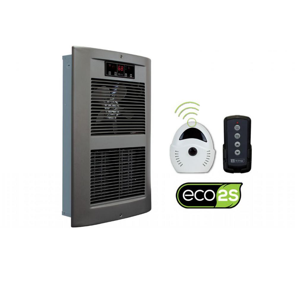 LPW ECO2S 240-Volt 2500-4500-Watt 8530-15354 BTU Electric Wall Heater in Satin Nickel