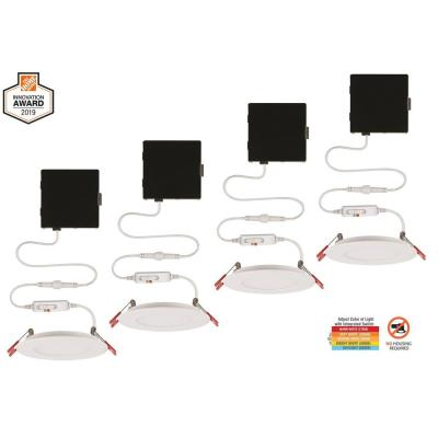Ultra Slim 4 in. Color Selectable New Construction and Remodel Canless Recessed Integrated LED Kit (4-Pack)