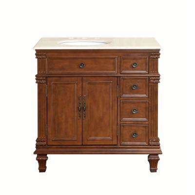 36 in. W x 22 in. D Vanity in Vermont Maple with Marble Vanity Top in Crema Marfil with White Basin